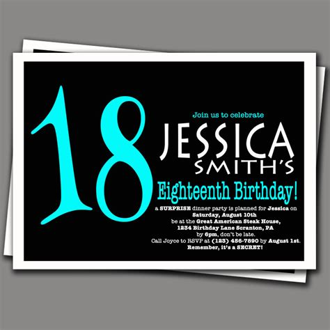 surprise 18th birthday invitation aqua blue and by