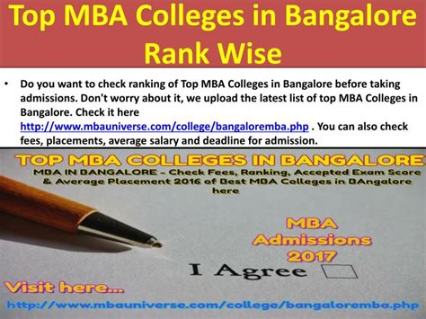 Mba In Bangalore by Ppt Top Mba Colleges In Bangalore Rank Wise Powerpoint