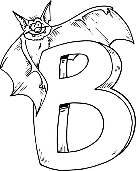 colouring page of letter b with bat coloring point