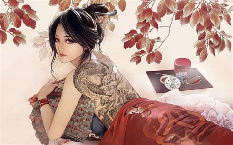 Geisha Tattoo Wallpaper | modern geisha wallpaper 1034089