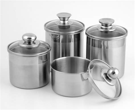stainless steel kitchen canister china 5 inch stainless steel canister with glass lid