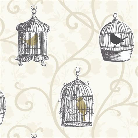 next wallpaper gold birds gold cream 417401 skylark bird cage trail
