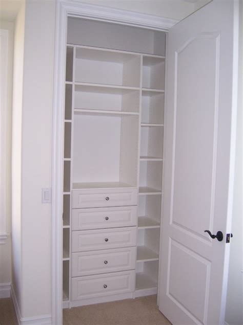 Closet Drawers by Reach In Closet White Melamine W Drawers