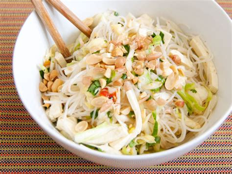 rice noodle salad vegetarian spicy rice noodle salad with cabbage and tofu