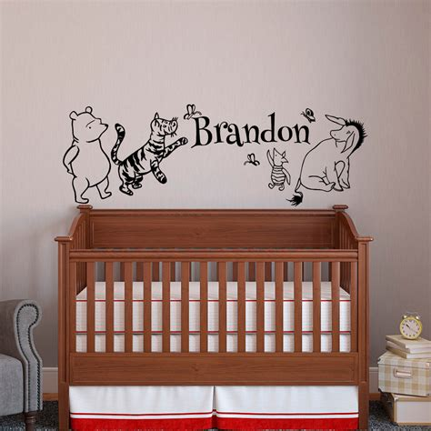 classic winnie the pooh wall decals for nursery classic winnie the pooh baby name wall decal pooh