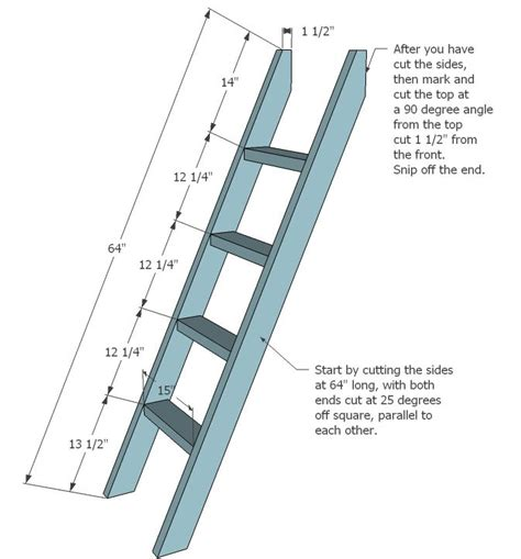 simple bunk bed plans twin  full bunk bed ladder