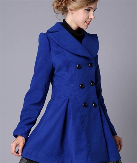 Blus Fashion2 blue trench coat fashion royal blue wool winter coats for