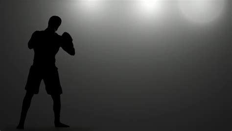 Boxer Gloves Light silhouette of a boxing on white background sparring