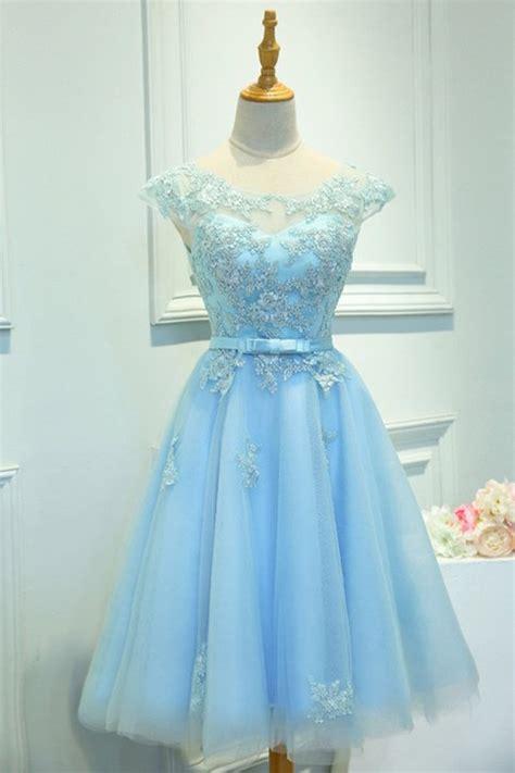 sky blue homecoming dressshort prom dressback  school