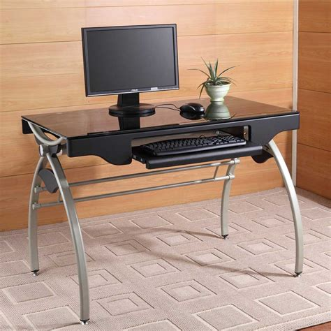modern black computer desk glass computer desk for elegant appearance