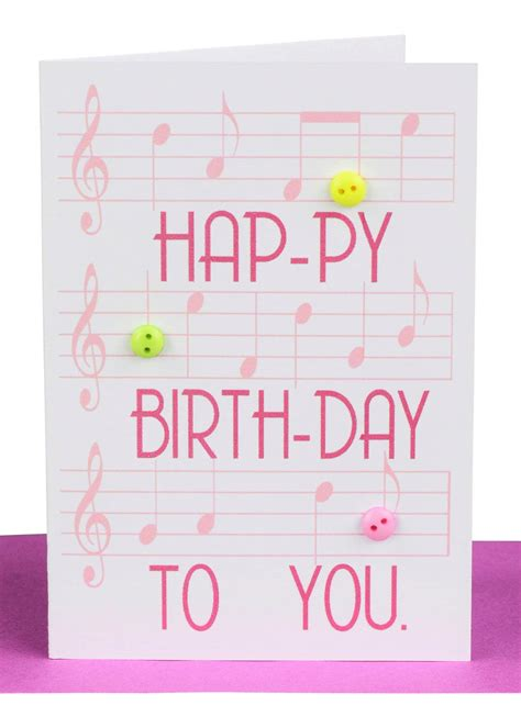 Musical Gift Cards - happy birthday gift card pink music lils wholesale cards