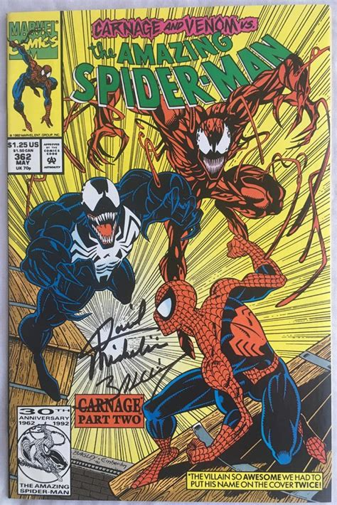 spider man by david michelinie 1302907026 amazing spider man 362 2nd app carnage signed by mark bagley david michelinie brooklyn