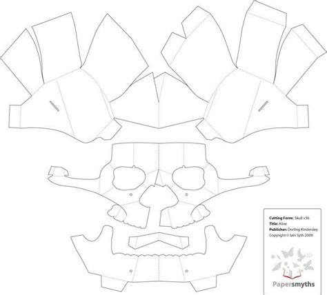 Template Popup Card Skull by 3d Paper Skull Template картон и бумага Pinte