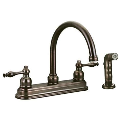 brushed bronze kitchen faucet design house saratoga 2 handle side sprayer kitchen faucet in brushed bronze 545343 the home depot