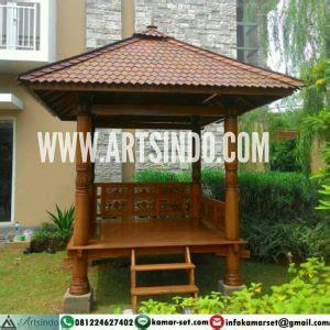 jual gazebo kayu jati ukir jepara atap sirap ulin model terbaru arts indo furniture jepara