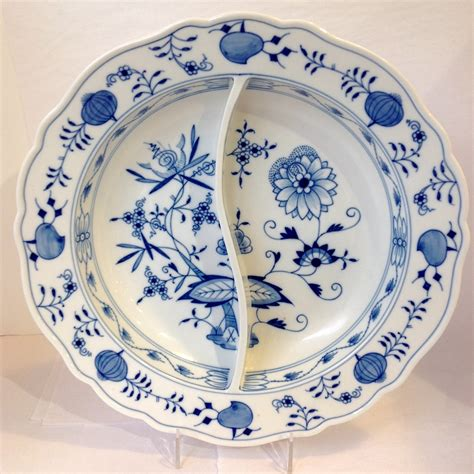sectioned plate meissen blue onion pattern divided serving dish from