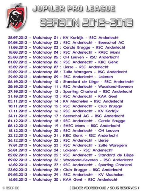 Calendrier Jupiler Pro League Calendrier Jupiler Pro League Saison 2012 2013 Royal