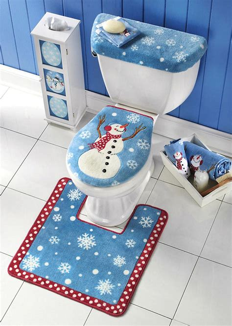 snowman toilet seat cover and rug set 3 snowman toilet seat tank lid cover and floor mat