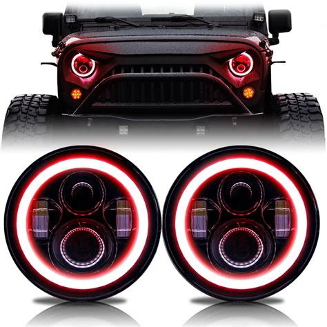 color changing led headlights halo rgb color projector led headlights for wrangler 1996