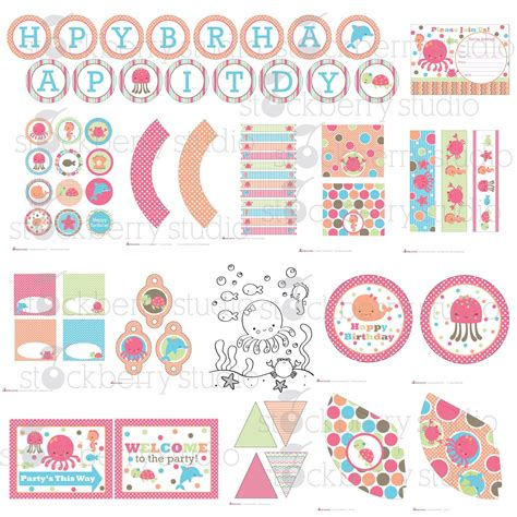 printable birthday decorations pink sea printable party kit by stockberrystudio on etsy