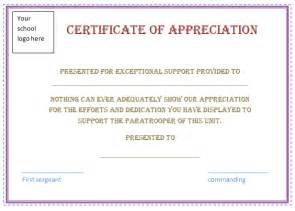 Appreciation Certificate Templates by Certificate Of Appreciation Sle Free Certificate
