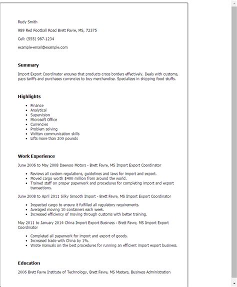 Export Administrator Cover Letter by Professional Import Export Coordinator Templates To Showcase Your Talent Myperfectresume