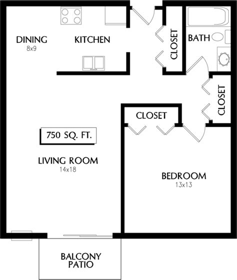 750 sq ft apartment floor plan 750 square foot apartment floor plans latest