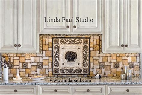 fruit basket metal and mosaic tile medallion kitchen