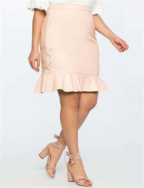 Faux Leather Ruffle Mini Skirt faux leather ruffle hem mini skirt s plus size