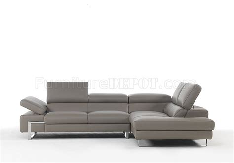 briana couch briana 8035 sectional sofa in grey genuine leather