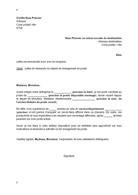 Modèle De Lettre De Demande De Stage De Perfectionnement lettre de motivation poste interne employment application