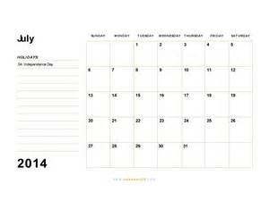 July 2014 Calendar Template by July 2014 Calendar Blank Printable Calendar Template In