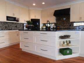White Kitchen Cabinets Black Appliances White Cabinets White Cabinetry Black White Backsplash Island Shelving Kitchen Island