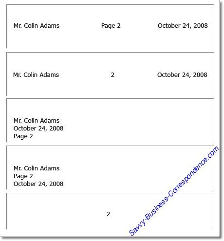 business letter format for second page page business letter