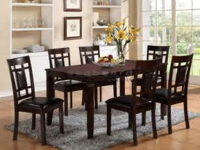 paige 7 piece dining room set in dark brown 2325
