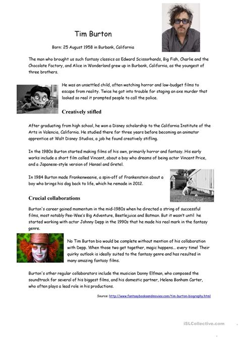biography reading comprehension tim burton s biography worksheet free esl printable