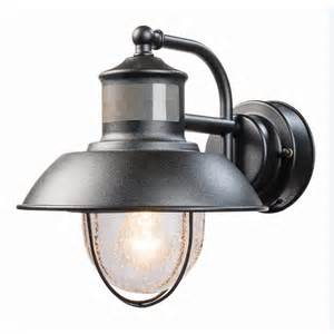 Outdoor Motion Lights Shop Secure Home Nautical 9 4 In H Matte Black Motion Activated Outdoor Wall Light At Lowes