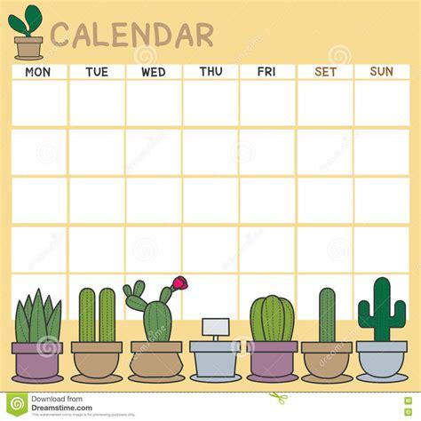 Set Calendar Cactus Calendar Set Stock Vector Image 75165973