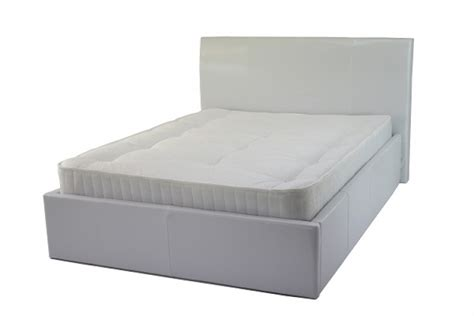 white leather ottoman double bed metal beds chameleon 4ft 120cm small double white faux
