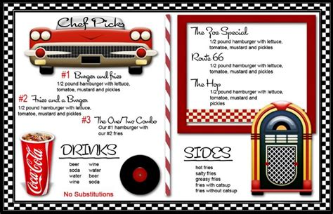 50s diner menu templates 50 s themed home decor