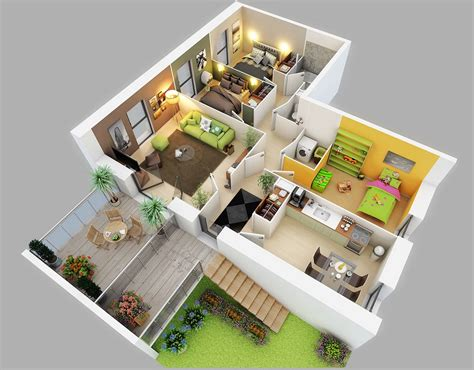 3 room 3d house plan 25 three bedroom house apartment floor plans