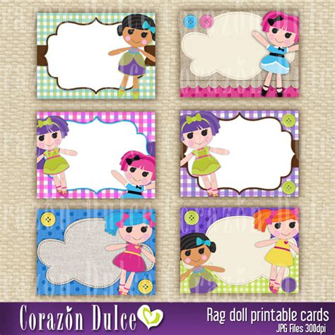 free printable lalaloopsy invitation template rag doll printable cards tags book labels stickers kids