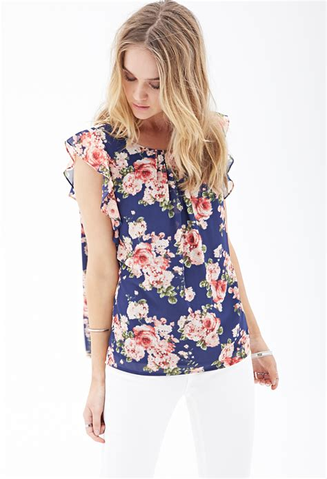 Hm Blouse Blue Floral forever 21 ruffled floral chiffon blouse in blue navy
