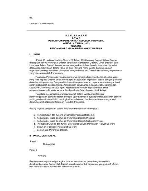 Undang Undang Perangkat Daerah pp no 8 tahun 2003 pedoman organisasi perangkat daerah