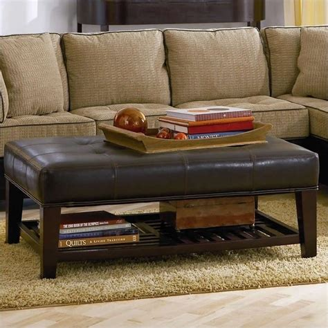 Leather Ottoman With Shelf coaster contemporary faux leather tufted ottoman with storage shelf 500872