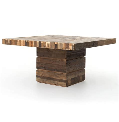 square wood dining table rustic lodge chunky reclaimed wood square dining