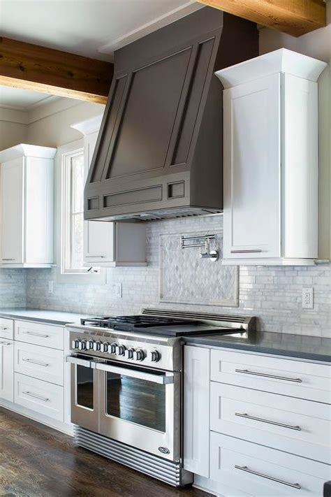 kitchen backsplash decorating ideas feature marble diamond white kitchen with dark taupe hood transitional kitchen