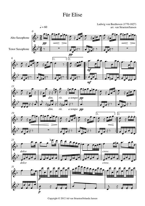 beethoven biography fur elise beethoven f 252 r elise for saxophone duo