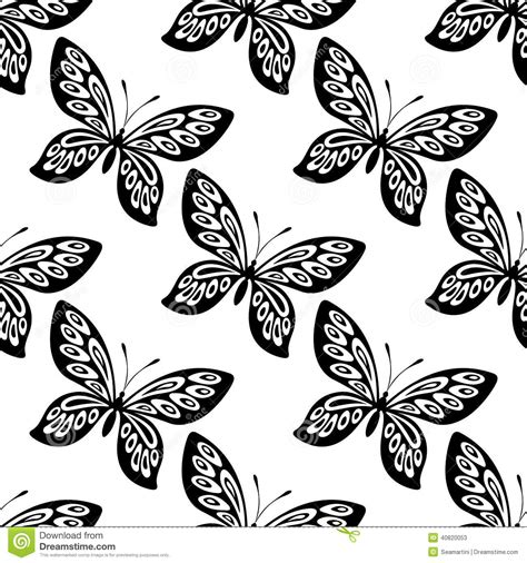 black and white butterfly pattern butterfly seamless pattern stock vector image of blue