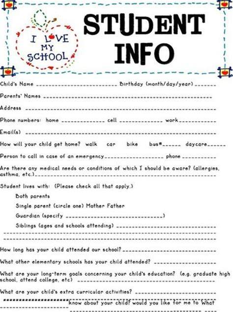Free Templates For Info Cards For Students by Student Information Sheet Preschool Items Juxtapost